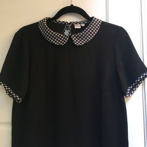 Peter pan collar blouse, black with plaid/checkered neck/sleeve detail